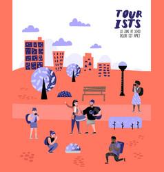 traveling people in trip poster banner brochure vector image