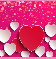 valentine postcard with hearts on pink vector image
