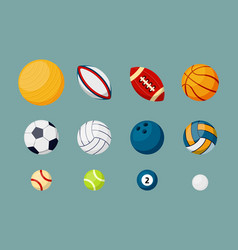 Various sports balls flat set vector