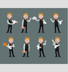 Waiter wearing the uniform holding a dish vector