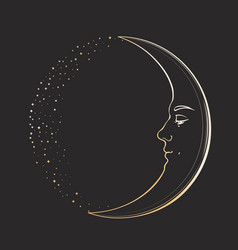 waxing crescent moon with a face handsome young vector image