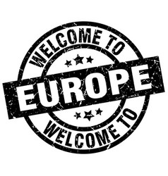 Welcome to europe black stamp vector