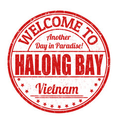 Welcome to halong bay sign or stamp vector