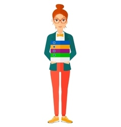 Woman holding pile of folders vector image