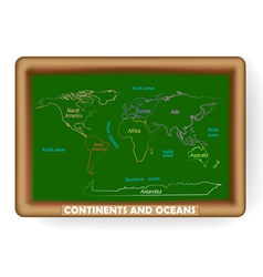 World map drawing on the classroom blackboard vector