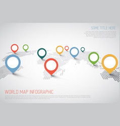 World map with pointer marks vector