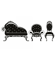 Baroque style furniture vector