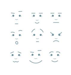 cartoon faces expressions set vector image
