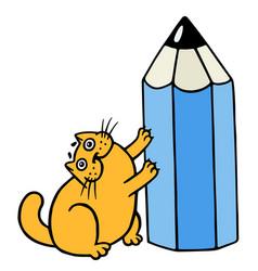 Cute orange fat cat hugging blue pencil vector