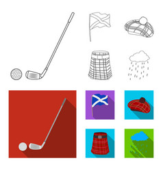 flag kilt rainy weather capscotland country vector image