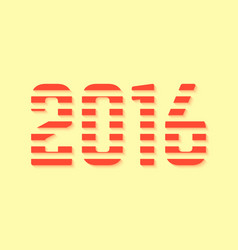 red dashed 2016 number on yellow background vector image vector image