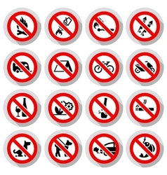 Set Prohibited signs on paper stickers vector image vector image