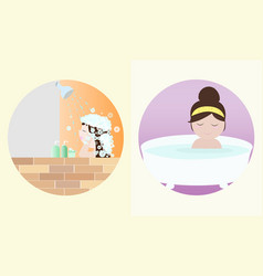 taking a bath vector image vector image