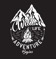 wildlife inscription with mountains and campfire vector image