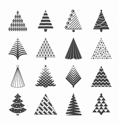 Christmas trees collection vector image vector image