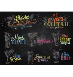 Cocktails colored chalk vector image vector image