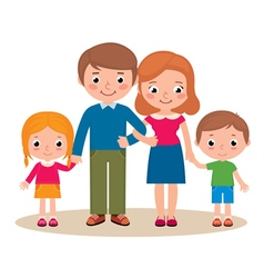Family portrait of parents and their children vector image vector image