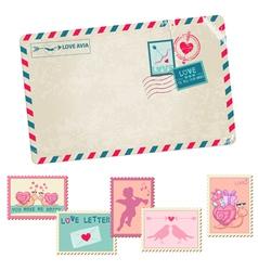 Love Letter - Vintage Postcard vector image vector image