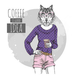 Retro hipster fashion animal wolf with coffee vector
