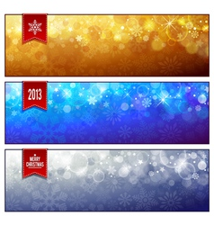 Set of horizontal luminous Christmas banners vector image vector image