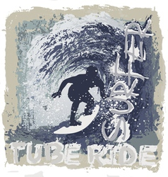 surfing tube ride vector image vector image