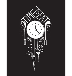 Time to Eat Sign and Label Monochrome Design on vector image