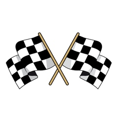 Crossed black and white checkered flags vector image