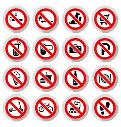 Prohibited symbols set vector image vector image