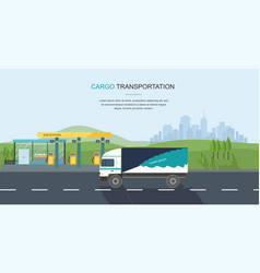 Semi truck on the road and gas filling station vector