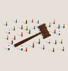 crowd and gavel hammer symbol concept of social vector image vector image