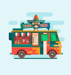 food truck festival menustreet food vehicles flat vector image vector image