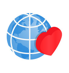 Heart of globe 3d isometric icon vector image vector image