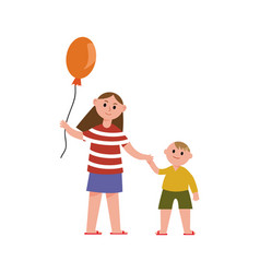 sister with balloon holding her little brothers vector image