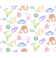 sketch colored children toys seamless pattern vector image