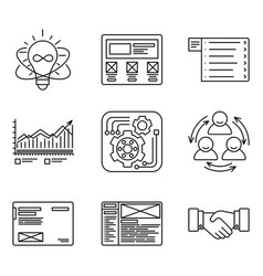 thin lines icons set of development process vector image vector image