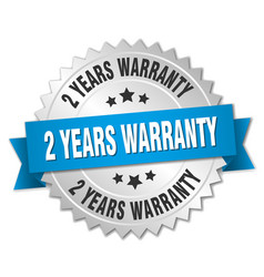 2 years warranty 3d silver badge with blue ribbon vector image