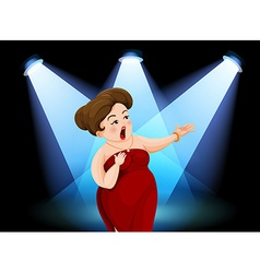 A fat lady performing in the stage vector image