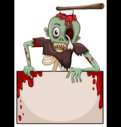 A zombie with an empty signboard vector image