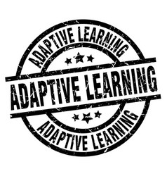 Adaptive learning round grunge black stamp vector