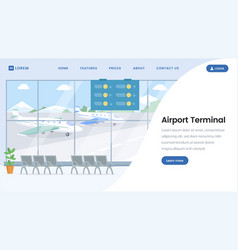 airport terminal landing page template vector image