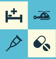 Antibiotic icons set collection spike pills vector