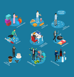 bad habits sign 3d icon set isometric view vector image