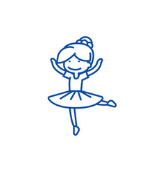 ballerina girlbalet dancer line icon concept vector image