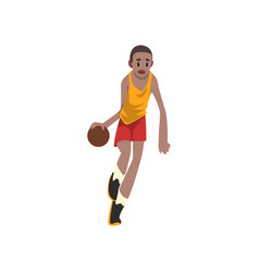 Basketball player moving dribble athlete in vector