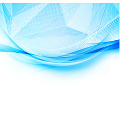 blue crystal and swoosh wave pattern layout vector image