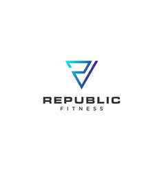 blue initial r triangle logo design vector image