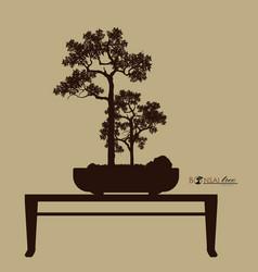 Bonsai tree silhouette of bonsai detailed image vector
