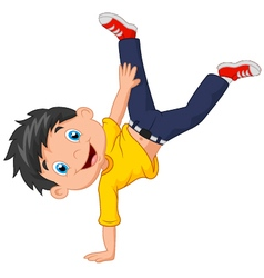 Cartoon boy standing on his hands vector