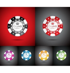 casino with playing chips set vector image