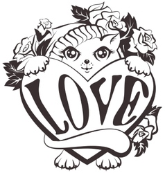 Cat holding a heart with love vector image